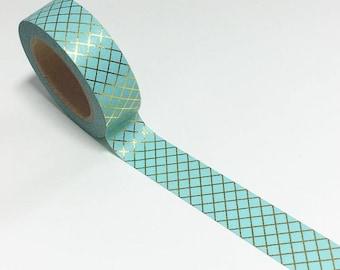Turquoise criss cross washi, gold foil washi, criss cross washi