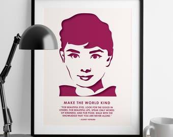 Audrey Hepburn Print - Feminist Gifts - Art Print - Girl Power - Wall Art - Audrey Hepburn Quote - Home Decor - Girl Boss - Feminism Quotes