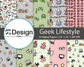 "12""x12"" Geek Lifestyle Digital Paper 10 Pack 
