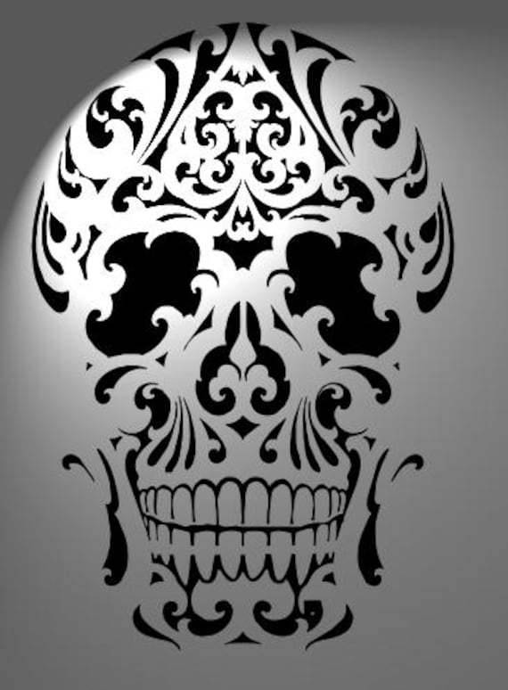 Cake stencil skull size a3 mylar 125 micron made on order for Pochoir jack daniels