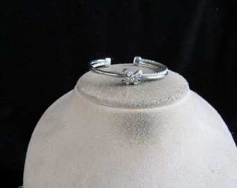 Vintage Silvertone Rhinestone X Cuff Bracelet
