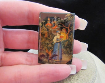 Vintage Russian Wooden Woman Out Door Themed Pin