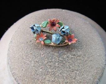 Vintage Enameled Rhinestone Floral Pin