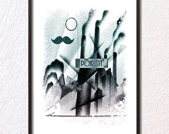 Digital Design Minimalist Print Digital Download Retro Style Hercule Poirot Printable Modern Art Print Home Offie Wall decor Gift Idea Movie