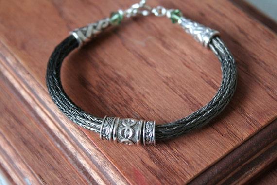 Black Iron Viking Knit Bracelet w/ Celtic Rings (gc)