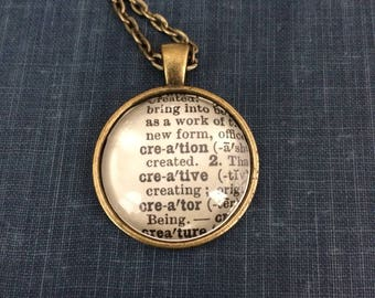 CREATION CREATIVE CREATOR Vintage Dictionary Word Pendant