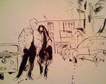 VANILLA SKY: drawing, pen and ink, 8x10 print, ink splatter, black & white