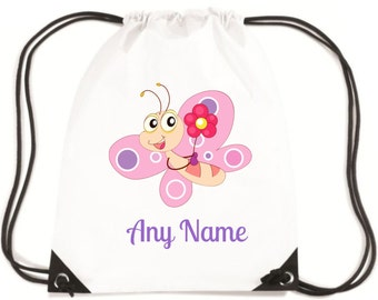 Personalised BUTTERFLY PE/School/Swimming Bag