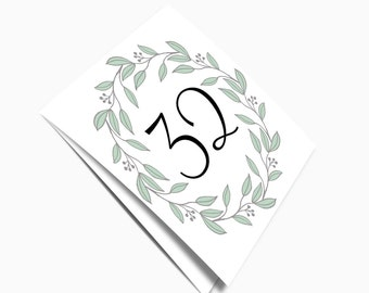 Woodland table numbers printable Spring wedding decor template Folded table numbers wreath Instant download Summer number cards square 1T118