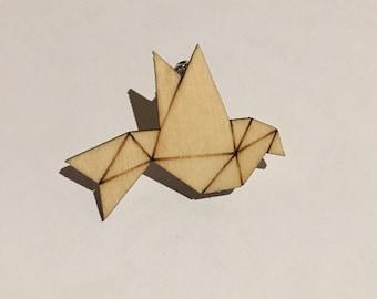 Bird animal wooden brooch