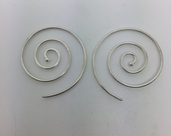 925 sterling silver spiral earrings,silver spiral earrings,hoop spiral earrings,spiral jewelry,silver earrings,tribal earrings,gypsy jewelry