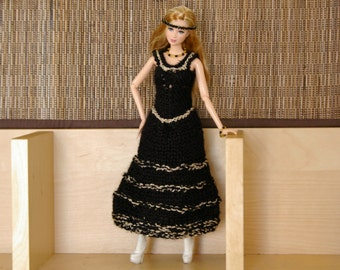 Black dress for Barbie - Hand-knitted - knit