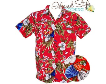 Hawaiian Shirt Red Magnum Fancy Dress Costume Luau Party Tropical Uniform