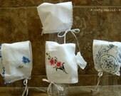 Baby Bonnet-Bride's Wedding Handkerchief, Start a Family Tradition! Baby Bonnet Hanky, Heirloom Bonnet, Wedding Hanky, Baby Shower Gift,