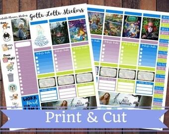 50% Off SALE \ Alice In Wonderland \ Instant Download Printable Vertical Planner Kit \ Planner Stickers \ Scrapbook \ Journal Clip Art