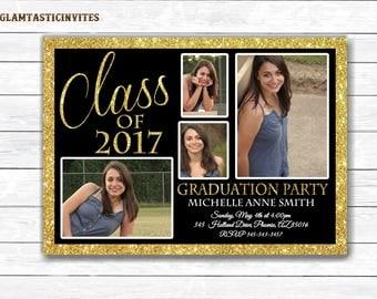 Graduation Invitation, Grad Invite, Graduation Invite, Class of, High School Graduation Invitation, College Graduation Invitation, Gold