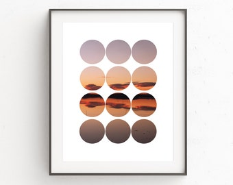 Modern Photography Wall Print, Minimalist Photography Prints, Instant Download Printable Art, Red Photography Wall Print, Sunset Wall Print