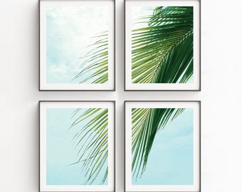 Wall Art Print Sets, Palm Leaf Print, Large Beach Wall Art, Set Of 4 Prints, Coastal Wall Art, Modern Print Set, Set of 4, Digital Print