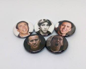 Nicolas Cage Fan Button Pack - Declaration of Independence Da Vinci Code Face/Off Pins - How else do you describe him?
