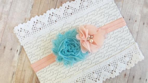 Coral And Turquoise Headband, Peach Headband, Vintage Infant Headband, Flower Toddler Headband, Teen Headbadns, Preemie Headband, Teen Bows