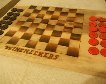 Wincheckers, wooden Checker board game, Winchester, droughts, wooden games