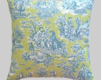 Turquoise Blue Lime Green Toile Throw Pillow Cushion Cover Waverly Designer Rustic Life French Country Cottage Decor Decorative Pillow
