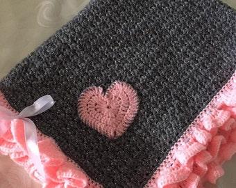 Pink and Grey Crochet Baby Blanket, Crochet Blanket, Crochet Baby Blanket