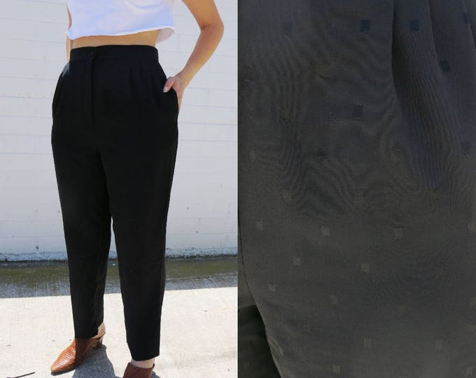 Black Pleated Tapered Trousers with Dot Detail 1980's Style High Waisted Minimalistic Size Medium Large 30 Waist