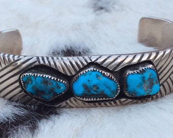 DAN JACKSON Turquoise Cuff Sterling Silver Bracelet Navajo Shadowbox Overlay