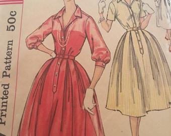 Vintage 50s Simplicity Slenderette 2412 Dress Pattern-Size 12 (32-25-34)