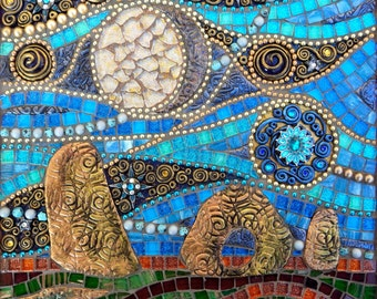 Mixed media mosaic wall art, polymer clay and glass mosaic, Men-an-tol standing stones Cornwall
