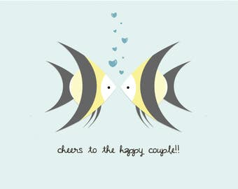 Cheers to the Happy Couple Angelfish Card | Cute Wedding Card