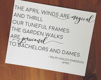 Typographic Art Print - Bookish Literature Quote Print - Ralph Waldo Emerson - April - Poetry Art - Spring