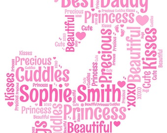 Personalised A4 or 5x7 Size New Dad, Daddy, Father Word Art Print - Cute Gift Idea *Digital File Also Available*