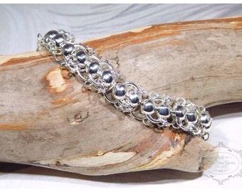 Chain Maille Bracelet, Centipede Vertebrae Weave, Silver Plated, Chain Mail Weave, Chain Maille Jewellery, Mothers Day, Birthday Gift, Links
