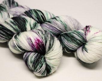 OOAK #5- Ballpoint Sock fingering weight 80/20 superwash merino nylon hand dyed speckled variegated yarn - 400 yards