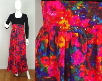 Vintage 60s Maxi Dress Colorful Rhinestone Maxi Small Black & Multi-color Floral Empire Waist Gown Long Dress Size Small 1960s