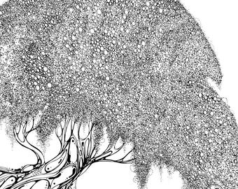 Original Ink drawing - Treetop of circles
