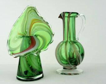 Set of 2 Vintage Lutetian Glass Green Swirl Jack In Pulpit JIP & Green Swirl Pitcher~Original Lutetian Glass 1960s Mid Century Mod Art Glass