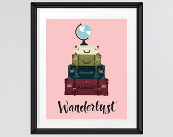 Wanderlust Inspirational Quote, Vintage suitcases and atlas, Retro Poster, Printable Wall Art, Travel quote, INSTANT DOWNLOAD