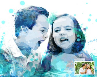 Child portrait, Custom portrait from photo, Personalized mothers day gift, Kid portrait, Commission portrait, Colorful Pop art, DIGITAL FILE