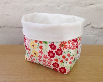 Mini floral fabric basket, fabric storage basket, home storage, nursery storage, fabric organiser