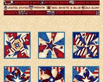 Libertyville Cream Flag Panel by Henry Glass Fabrics; American Flag Panel