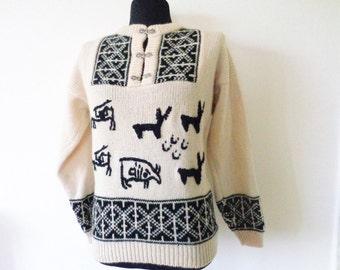 Black White Wool Sweater, Scandinavian Sweater, Vintage Christmas Sweater, Deer Sweater, 100% Pure New Wool, Ugly Sweater, S/M