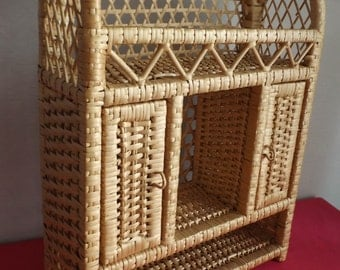 Wall shelf in wicker and vintage wooden / wicker furniture is hand made in France vintage