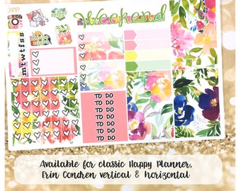 Happiness in Bloom floral spring summer sampler stickers- for Erin Condren Vertical and Horizontal Planners - watercolor
