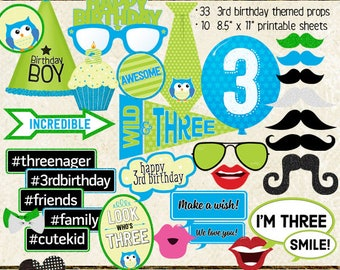 Photo Booth Props, HAPPY 3RD BIRTHDAY, boy, printable sheets, instant download, diy, party planning, blue, green, cyan, lime