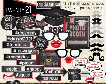 Photo Booth Props, CLASS OF 2021, 8th grade graduation, party, printable sheets, digital, instant download, red, silver