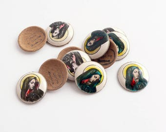 Vintage Religious Cameo, hand-painted cardboard dome, Mary, Czechoslovakia 1940s - 16 mm - 4 pcs - I-1-3