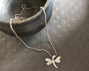 "Sterling silver Dragonfly pendant on 22"" sterling silver bead chain 925 necklace nature lovers gift summer outdoors"